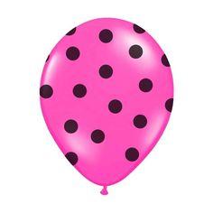 6 Ballons de baudruche fuchsia à pois noir, très haute qualité Hélium, une ambiance moderne en perspective. Ces ballons gonflables fuchsia apporteront du peps à vos décorations de salle.