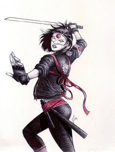 An sketch of Katana from Suicide Squad movie, with ballpoint pen