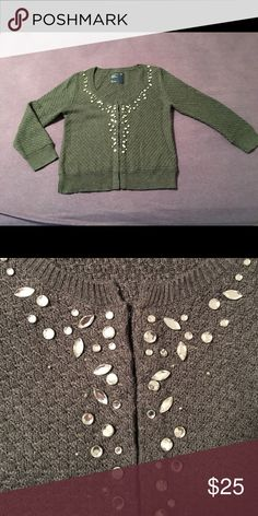 Cozy holiday sweater Charcoal gray embellished sweater, in perfect condition. American Eagle Outfitters Sweaters Cardigans