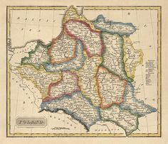 Antique Map of Poland c1817  150x174  by BlueMonoclePrints on Etsy, $31.00