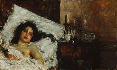 'Resting' by Antonio Mancini (1852-1930, Italy)