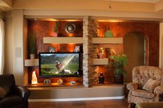 Custom Home Media Wall Design Portfolio | Thunderbird Custom Design