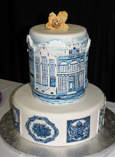 Delft Dutch Cake by snarkygurl, via Flickr - ha! I found my cake that I made for the Austin cake competition! Too funny... Everything on here is 100% free hand painted and all sugar