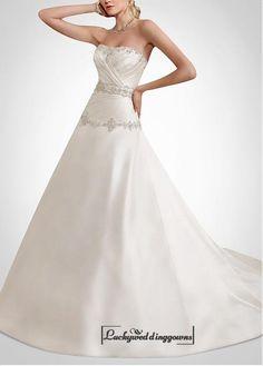 Beautiful Satin Strapless A-line Wedding Dress