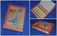 Message theme - coptic stich journals made from colorful paper