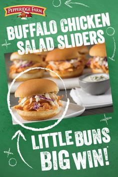 There is so much to love about these easy Buffalo Chicken Salad Sliders. The heat you crave is perfectly balanced by the creamy coleslaw topping so you get a whole lot of flavor packed into a snack sized treat. Add them to your big game party menu and sco Salmon Recipes, Chicken Recipes, Wine Recipes, Cooking Recipes, Creamy Coleslaw, Good Food, Yummy Food, Game Party, Slider Recipes