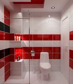 cool 50 Magnificient Red Wall Design Ideas For Bathroom Bathroom Wall Storage, Small Bathroom Paint, Wall Storage Cabinets, Small Bathtub, Bathroom Red, Large Bathrooms, Rustic Bathrooms, Bathroom Layout, Bathroom Colors