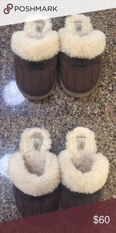 UGG Slippers Lightly worn around the home.                    100% Cotton Knit, sheepskin collar, UGGpure™ , wool lining, sheepskin insole. Don't be afraid to make an offer😊 UGG Shoes Slippers