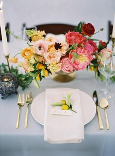 Summer citrus tablescape ideas | michael radford photography