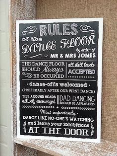 PERSONALISED RULES OF THE DANCEFLOOR CHALKBOARD STYLE WEDDING SIGN/PRINT VINTAGE in Home, Furniture & DIY, Wedding Supplies, Venue Decorations | eBay