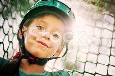 Little girl climbing in amusement park. royalty-free stock photo