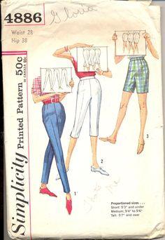 Vintage 1960's Womens Pants, Capris, Shorts Pattern, Simplicity 4886 Sewing Pattern, Waist 28