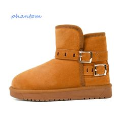 46.15$  Watch here - http://alie5f.shopchina.info/go.php?t=32746925460 - Women 2016 winter boots Black Khaki Gray Rubber Snow Boots Large size Plush Boots australia First layer of leather  Ankle 46.15$ #magazineonline