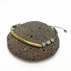 Hematite and raw brass bracelet, adjustable size