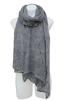 Terra Nomad Womens Wool Blend Long Crochet Style ShawlWrap  Dark Grey -- Read more  at the image link.  This link participates in Amazon Service LLC Associates Program, a program designed to let participant earn advertising fees by advertising and linking to Amazon.com.