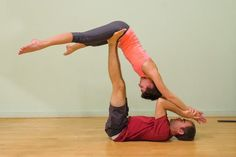 """Best acro yoga videos. This pose is called Super Yogi. It's therapeutic-flying. Not all AcroYoga is """"Acrobatic.""""  Notice the 4 points of contact. It's chill."""