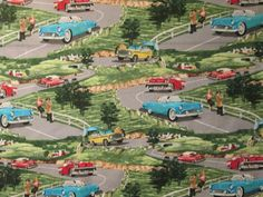 Vintage Cars Scenic 1950's 60's Cars Cotton Fabric FQ  #OutofPrint