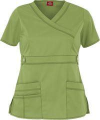 Style # D817355: DESERT SAGE: Dickies Gen Flex Contemporary Youtility Mock Wrap Scrub Top