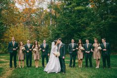Fall Wedding Party | More of the wedding on SMP: http://www.StyleMePretty.com/2014/02/10/fall-hidden-pond-maine-wedding/ Emily Delamater Photography