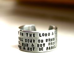 hand stamped bible verse ring