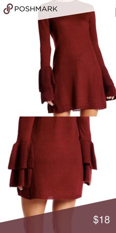Long Bell Sleeve Pullover Sweater Brand new with tags! Very J Long Bell Sleeve Pullover Sweater dress Size Medium Color Wine Very J Dresses