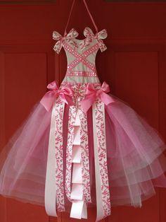 Pink Ballerina hair bow holder with headband holder.