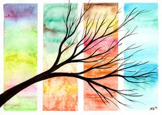 Four Seasons in One Day - Original Watercolour Painting by Kirsten Bailey