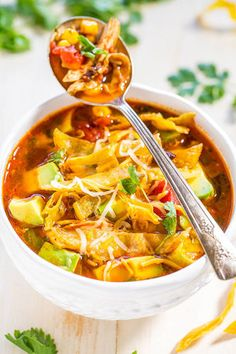 Nothing is better than a 30-minute homemade chicken tortilla soup for lunch or dinner.