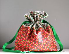 Christmas Gift bag sold on Spindles Designs Etsy Shop for $10. Perfect for Neighbor or Teacher goodies.
