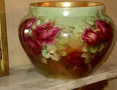 Limoges Large Jardiniere Warm Colors & Ruby Red Roses