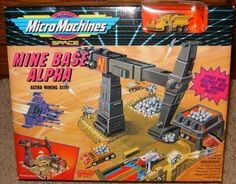 Mine Base Alpha Micro Machines Playset by Galoob Micromachines. $19.99. Mine Base Alpha Astro Mining Site Micro Machines Playset!. Rare Collectible Set from 1993 for Micro Machines Collectors!. Space Mine Outpost with Real Moving Parts!. Includes Working Crane to Mine Ore, Loading Hopper, Unobtanium Ore Nuggets, T-3xi Unobtanium Transport Truck and Storage Bay with Secret Swing-Up Door!. The Original Scale Miniatures!  Approximate box dimensions are 9 x 7.5 x 3 i...