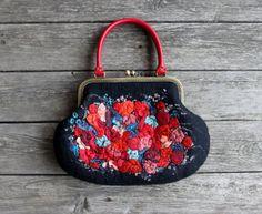 Felted black bag women floral clutch OOAK by AureliaFeltStudio, $225.00