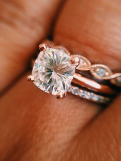 Engagement Solitaire, Gold Solitaire Ring, Rose Gold Engagement Ring, Diamond Rings, Gemstone Rings, Engagement Sets, Cushion Solitaire, Gold Rings, Wedding Rings Rose Gold