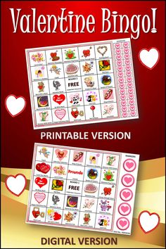 Valentine Bingo is a GREAT party idea for home or school. Comes with 30 digital boards and 30 printable boards for home or school use. #valentinesday, #valentine Valentine Bingo, Valentines Day Party, Valentine Day Crafts, Enrichment Activities, Party Activities, Valentine's Day Party Games, Bingo Set, Digital Board, Love You Friend