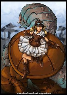 Alice and the worm For Alice in Steamland project ( a personal proyect) Photoshop CS and wacom bamboo check lineart in