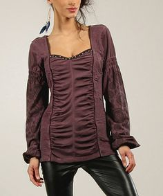 love, love, love!!  Look what I found on #zulily! Bordo Medallion Ruched Embellished Square Neck Top #zulilyfinds