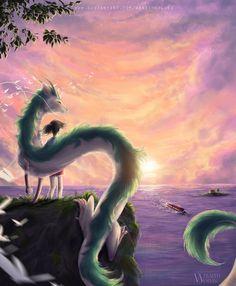 : Spirited Away :. by WraithWolves on DeviantArt Spirited Away Dragon, Spirited Away Art, Studio Ghibli Spirited Away, Studio Ghibli Art, Studio Ghibli Movies, Hayao Miyazaki, Fantasy Landscape, Fantasy Art, Mononoke Anime