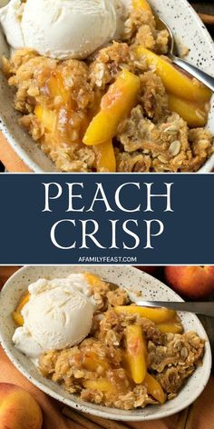 Peach Crisp - You'll love the sweet and crumbly oatmeal and brown sugar topping on this luscious Peach Crisp. Make it with fresh in-season peaches this summer, or with frozen peaches during the rest of the year! by susanne Fresh Peach Crisp, Peach Oatmeal Crisp, Peach Crisp With Frozen Peaches Recipe, Frozen Peach Cobbler Recipe, Recipes With Peaches, Peach Cobbler Crisp, Peach Cobbler Recipe Pioneer Woman, Healthy Peach Cobbler, Healthy Peach Crisp