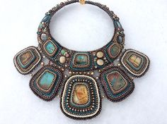 SOLD. Bead embroidered statement necklace by MonpasieJewelry