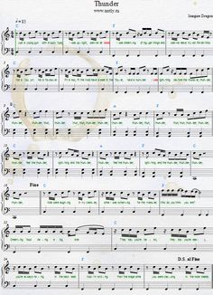 The fastest and easiest way to learn piano or keyboard. Trumpet Sheet Music, Violin Sheet Music, Piano Music, Imagine Dragons Thunder, Pentatonix, Violin Songs, Music Chords, Le Piano, Musica Popular