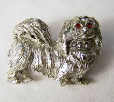Vintage Silver Tone Pekinese Dog Pin Red by GretelsTreasures