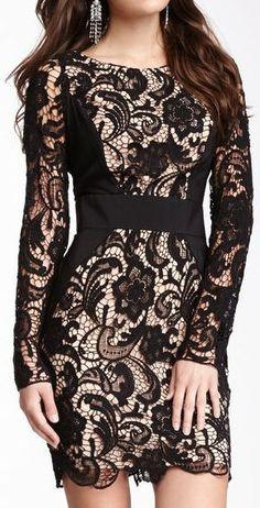 Contrast Panel Lace Dress <3 #lbd