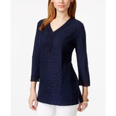 Jm Collection Three-Quarter-Sleeve Lace-Front Tunic, featuring polyvore, women's fashion, clothing, tops, tunics, intrepid blue, blue lace top, jm collection tops, three quarter sleeve tops, v-neck tops and 3/4 sleeve lace top