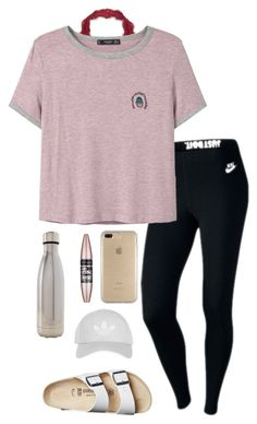 """Friday!"" by eadurbala08 ❤ liked on Polyvore featuring NIKE, MANGO, Birkenstock, Speck, Maybelline, S'well and Topshop"