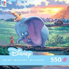 Enjoy a peaceful day with Dumbo and this jigsaw puzzle from Ceaco. This 550 piece puzzle features a beautiful image of the lovable Elephant Dumbo along with his best friend Timothy Q. Mouse. Full of b