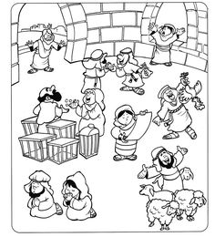 Matthew 21:12-17; Mark 11:15-19; Luke 19:45-48; Jesus Cleansed the Temple; Coloring Page