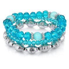 1928 Cyprus Silver-Tone Aqua Blue Beaded Stretch Bracelet Set (18 CAD) ❤ liked on Polyvore featuring jewelry, bracelets, accessories, beaded bangles, aqua jewelry, bead jewellery, 1928 jewelry and silver tone jewelry