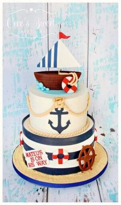 Ahoy, it's a boy! Baby Cakes, Baby Shower Cakes, Baby Boy Shower, Pink Cakes, Nautical Cake, Nautical Party, Birthday Cake Kids Boys, Cake Birthday, Sailor Cake