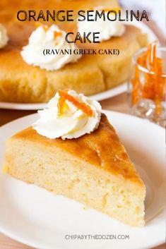 Orange Semolina Cake (Ravani Greek Cake) - Chipa by the Dozen Semolina Recipe, Semolina Cake, Apple Recipes, Gourmet Recipes, Cake Recipes, Greek Desserts, Greek Recipes, Round Cake Pans, Round Cakes