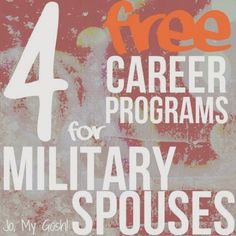 Free programs for #military spouses at all stages of education and employment! #milso #milspouse #career